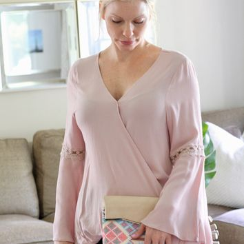 Rose Bell Sleeve Wrap Top