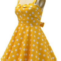 fold over bust sun dress - yellow & white polka dot | le bomb shop