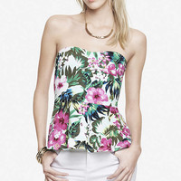 PEPLUM TUBE TOP - TROPICAL FLORAL from EXPRESS