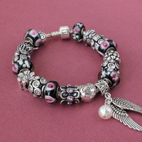 European charm bracelet with charms Guardian Angel wing pearl charms black white pink Murano beads