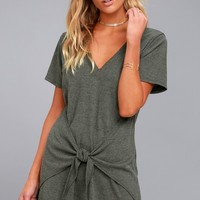 Live in Love Grey Knotted Shirt Dress