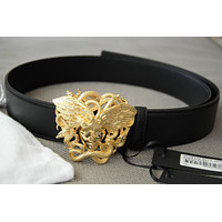 Authentic VERSACE Winged Gold Buckle Black Leather Medusa Belt sz