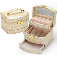Beige color leather jewelry box 3 layers jewelry holder Automatic wood storage box watch box 6 color free shippping
