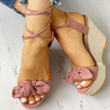 Women Wedges Shoes High Heels Casual Platform Fashion Sweet Bow Summer ankle-wrap Shoes Woman Sandals