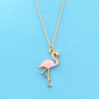 Pink flamingo on gold chain, Necklace, Animal, Necklace, Birthday, Friendship, Mom, Sister, Gift, Jewelry