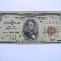 Series of 1929 Five 5 Dollar Bill National Currency Note Brown Seal Federal Reserve Bank of Boston FR 1850-A   Nice Collectible Paper Money