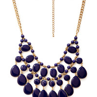 FOREVER 21 Teardrop Beaded Necklace Blue/Antic.G One