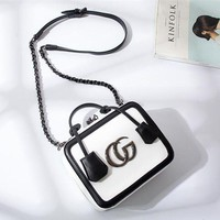 DCCKVQ8 Gucci' Women Fashion Multicolor Letter Metal Chain Single Shoulder Messenger Bag Handbag