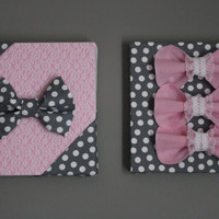 "Two Pink and Gray Wall Art Canvases, Lace, Pink & Polka Dot 3D Wall Hangings, 12x12"" Nursery Art, Baby Room Art, Baby Girl, Baby Shower Gift"