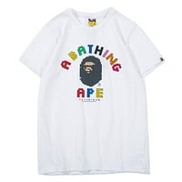 Bape Aape Fashion Summer New Bust Colorful Letter Print Women Men Top T-Shirt White