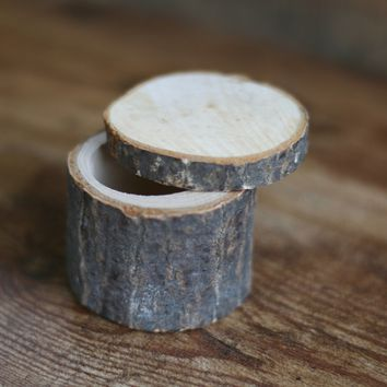 Wood Log Ring Box With Tree Bark - Wedding Box