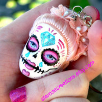 Sugar Skull Day of the Dead Doll Head Keychain - Custom Order Doll of Your Choice - Gothic Lolita