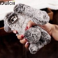 For iPhone 5s 6 6s 7 Plus Bunny Cover 3D Cute Rabbit Warm Fur Case for iPhone Huawei P9 Lite Bag for Sony XA for Samsung S7 edge