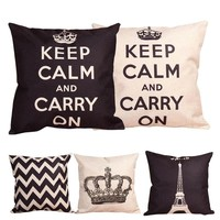 Best Price Fashion Home Decorative Linen Cotton Blended Crown Throw5 Styles Square 43cm x 43cm