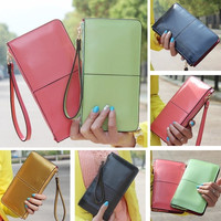 Fashion Candy Color Patent Leather OL Lady Clutch Wallet Purse Long Bifold Large Capacity Wristlet Handbag = 1958640644
