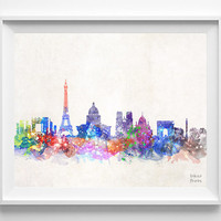 Paris Skyline, France Watercolor, Poster, French, Print, Bedroom, Art, Cityscape, City Painting, Illustration Art, Europe, Giclee [NO 421]