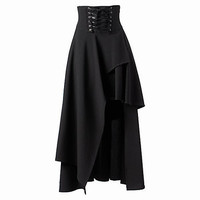 Steampunk Skirts Womens  Black Skirts Basic Vintage Long High Waist Joint Ruffles  Femme