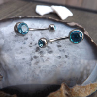 """Titanium Belly Ring 14g Curved Barbells 1/2"""" 10mm Silver Piercing Navel Button Rings Aqua Gemstone Barbells 7/16"""" Blue Gems Body Jewelry 