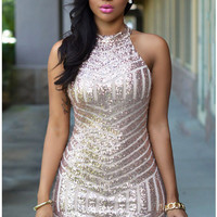 Gold Sparkling Sequin Stripe Sleeveless Bodycon Mini Dress for Women