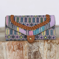 Twin Print Braided Wallet In Pink