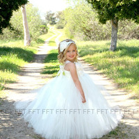 Ivory Lace Flower Girl Dress White, Rustic, Tulle, Country, Vintage, Shabby Chic, Tutu Dress, Newborn-24m, 2t,2t,4t,5t, 6, birthday