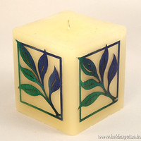 Meditation candle zen garden candle relaxation yoga esoteric blue green leaves leaf ornament with wooden marquetry