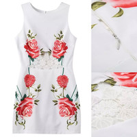White Floral Lace Paneled Cut Out Dress