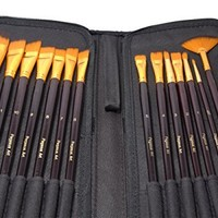 Paint Brushes - 15 Pc Brush Set for Watercolor, Acrylic, Oil & Face Painting | Long Handle Artist Paintbrushes with Travel Holder (Black) & Free Gift Box | Premium Art Supplies by MyArtscape™ | 1 Year Warranty