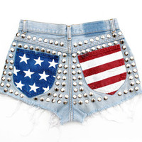 Hail USA American Flag Re-Worked Vintage Studded Denim Cut-Offs Shorts
