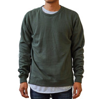 Triblend Side Slit Crewneck Sweatshirt Military Olive