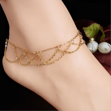 Charm Gold Anklets For Women Ankle Bracelet Chain Boho Tassel Foot Chain Anklets Foot Jewelry S  SM6