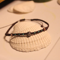 Macrame Beaded Hemp Anklet - Adjustable Size