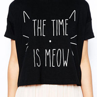 Meow letter black crop tee