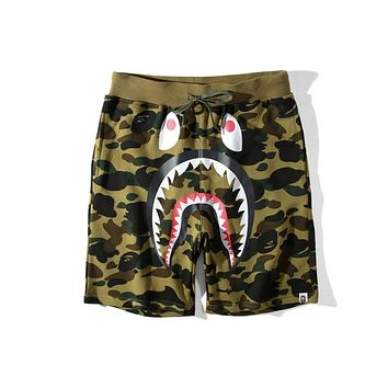 Bape summer hip hop camouflage shark mouth casual shorts five pants F-A-KSFZ green
