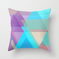 Purple and Turquoise Pillow Cover in Geometric Design
