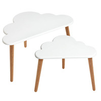 Cloud Coffee Table - white cloud table with oak legs