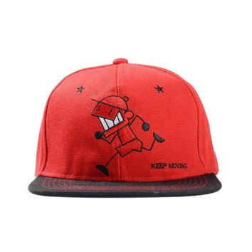 Matchstick Cartoon Flat Brimmed Keep Moving Hat
