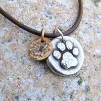 Little Paw Print Mixed Metal Necklace, personalized with initial, pewter, copper, hammered texture, rustic jewelry, pet lovers, pet memorial
