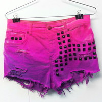 High waisted denim shorts - pink to purple Ombre black studded