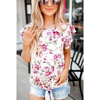 Ruffle Floral Knot Top (Ivory)FINAL SALE