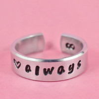 always - Hand Stamped Aluminum Ring, Personalized Ring, Forever Love, BFF, Perfect Gift