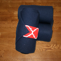 Equine Standing Wraps/Navy Standing Wraps w/Red Quatrefoil Velcro Straps by Brax Designs
