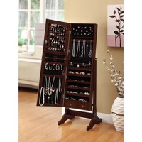 Premium Cherry Cheval Mirror Jewelry Cabinet Armoire Box Stand Organizer Case | Overstock.com Shopping - The Best Deals on Bedroom Accents