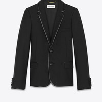 SAINT LAURENT ‎JACKET IN WOOL GABARDINE AND LEATHER BIAS ‎ | YSL.COM