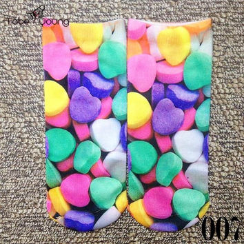3D Candy Hearts Unisex Sox One Size