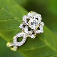 LOVE IN BLOOM - Flower Lotus Rose Diamond Engagement or Right Hand Ring - Semi mount Setting only - 14k white rose or yellow gold -fL03
