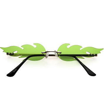 Bold Fire Flaming Shape Color Tinted Lens Rimless Flames Sunglasses D080