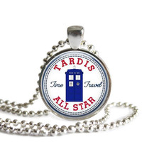 Tardis Time Travel All Star Silver Plated Picture Pendant Doctor Who Necklace
