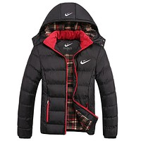 Nike Popular Men Leisure Long Sleeve Winter Warm Zipper Sport Detachable Hooded Cotton Thick Windbreak Coat Black