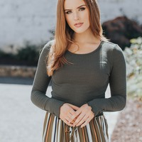 Stacy Long Sleeve Crop Top, Olive